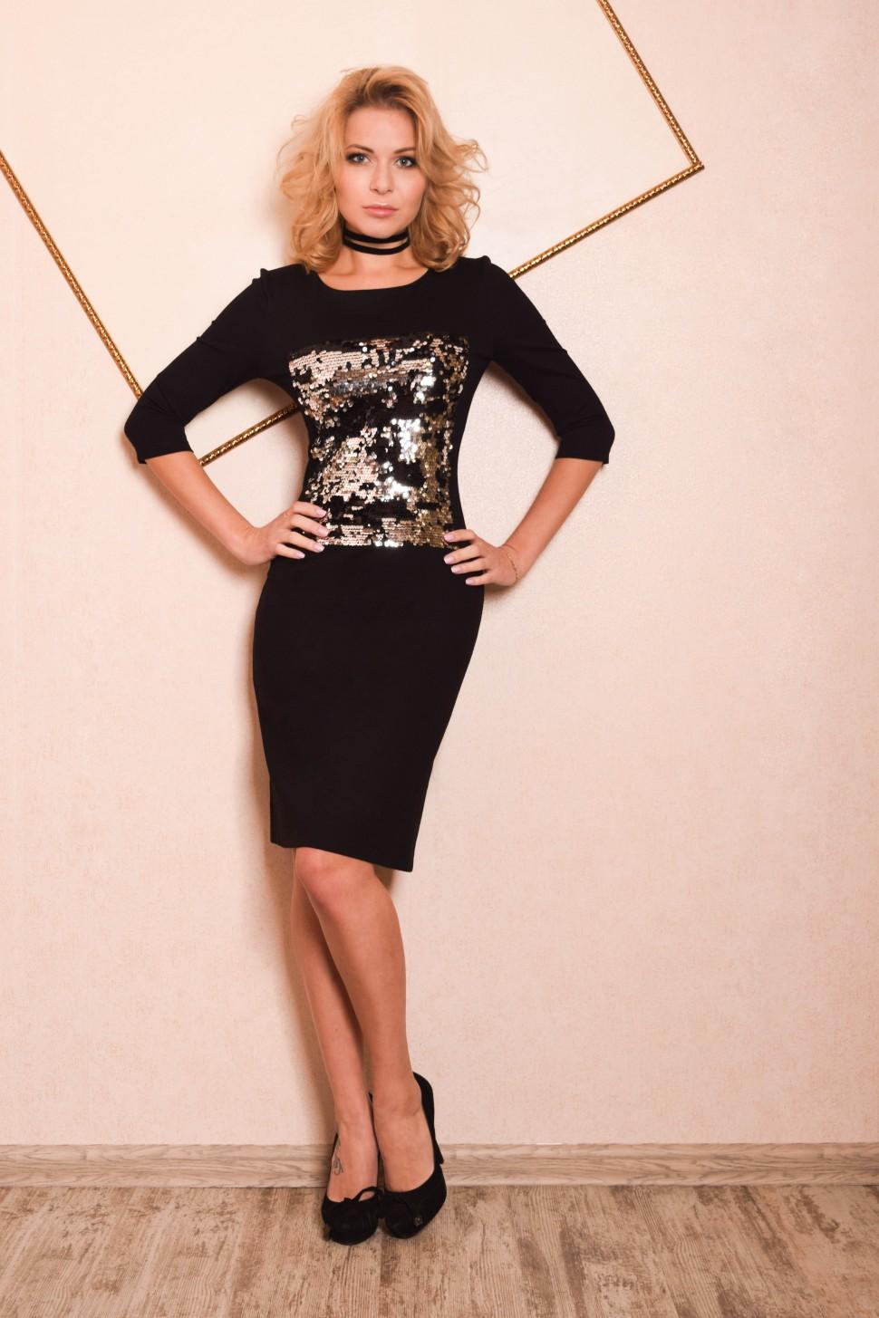 5e9c2a4978d Платье футляр с длинным рукавом и пайетками Дриада серебристое