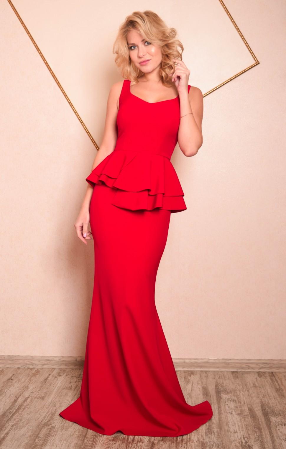 463a111e67fb Купить платье в пол с баской кристин красное в интернет магазине ...