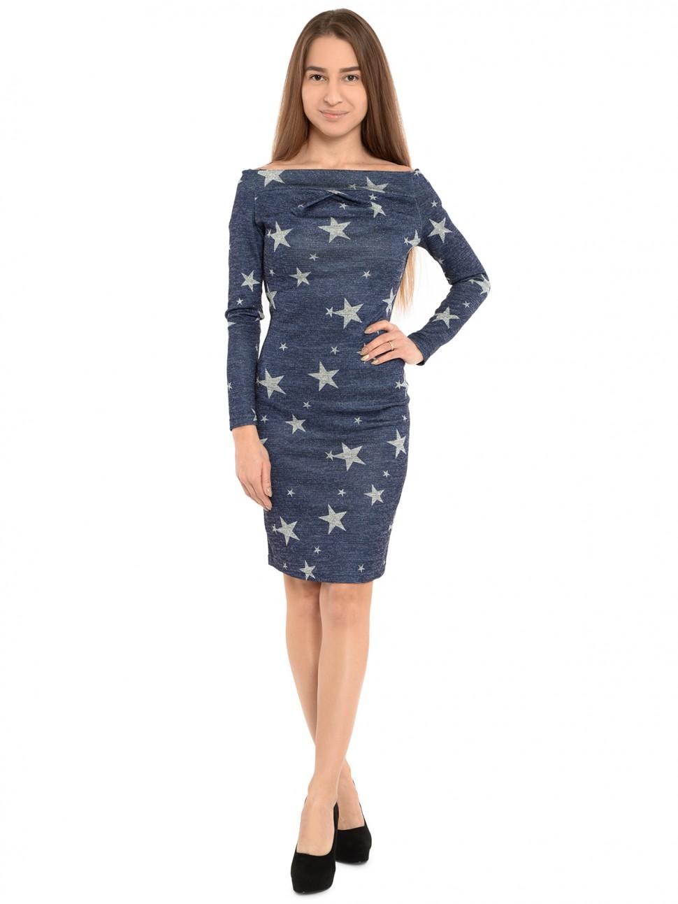 b21123c9a60 Купить стильное трикотажное платье звезды