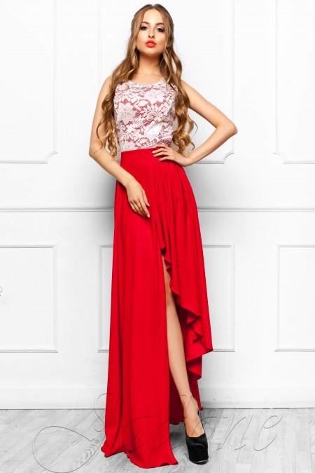 e90228caa9e Платье с асимметричной юбкой и кружевом JDN8 красное