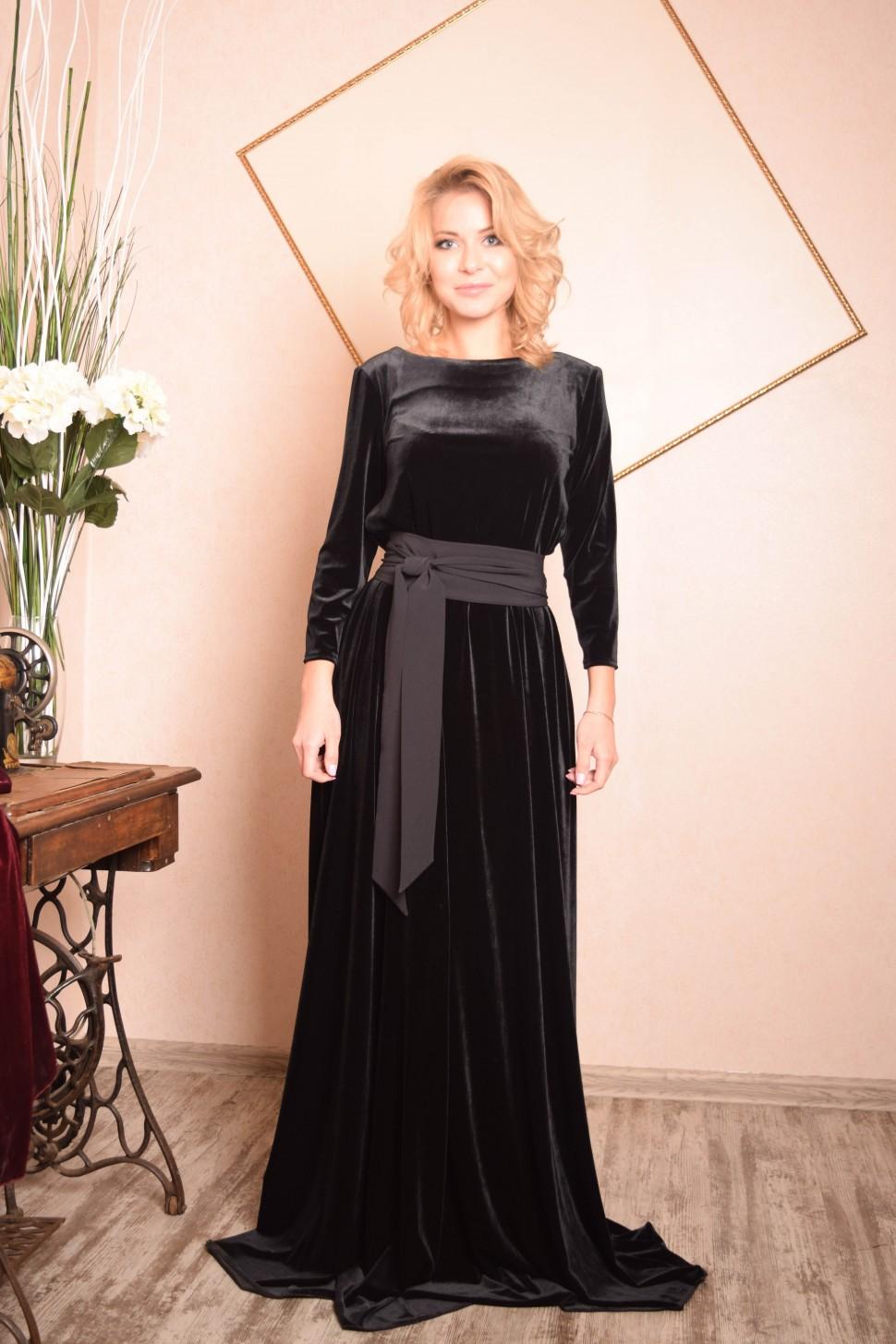 3a78b88fcdac522 Купить платье в пол с длинным рукавом агния бархат чёрное в интернет ...