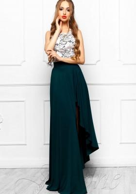 ad9c32d9840 Платье с асимметричной юбкой и кружевом JDN8 Т-зеленое