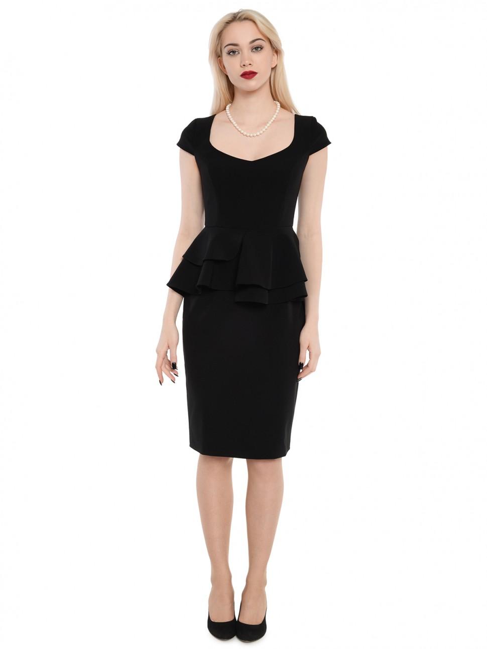 c67c41bf9e2 Купить элегантное платье с баской длины миди