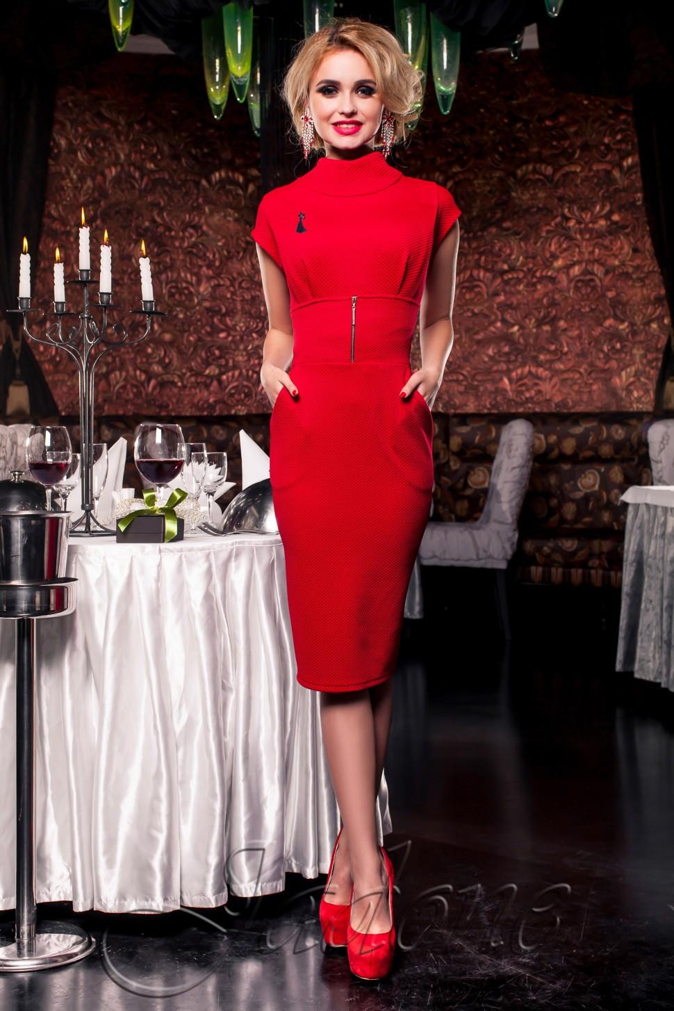 f1fbbe7931c Купить платье футляр с карманами jdn9 красное в интернет магазине ...