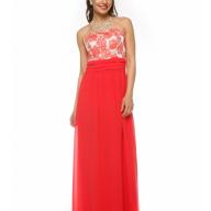 182a2a3e5b7 Купить длинное платье без рукавов с кружевом leleya талия коралловое ...