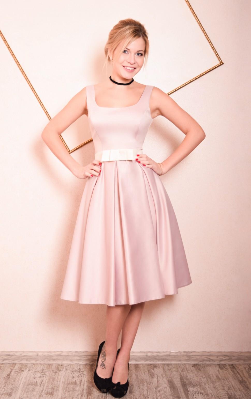 cf7f8af8e61 Купить платье с пышной юбкой солнце миди кейт пудра в интернет ...