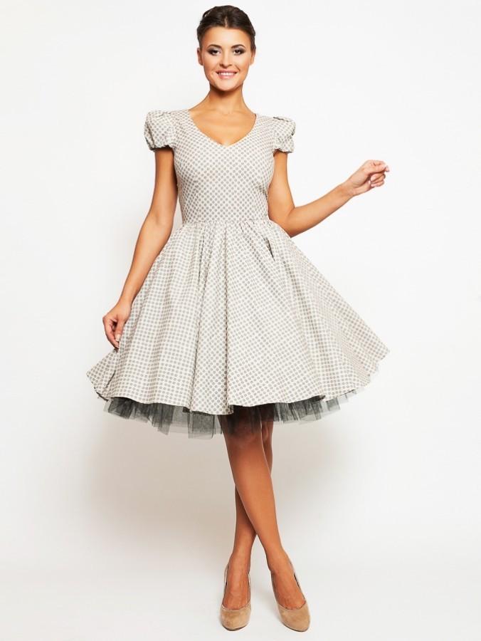 0740f598b472d19 Купить платье с пышной юбкой короткое lucy sanechka_61 бежевое в ...