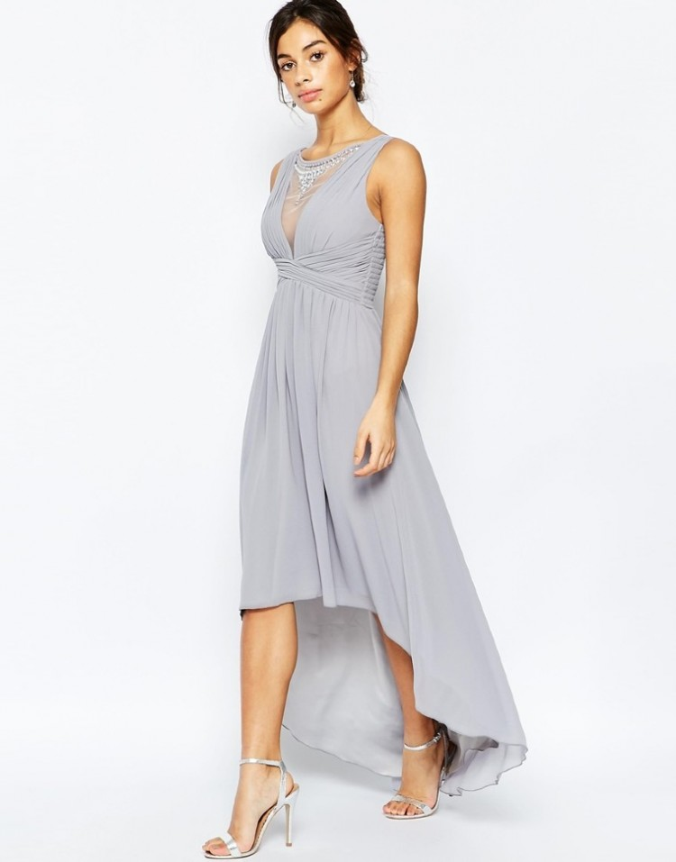 eb5c8e630c3 Купить асимметричное платье со стразами без рукавов 803828 серое в ...