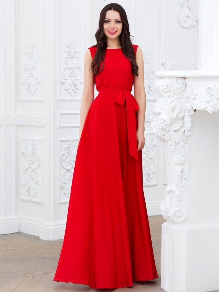 53eb0d75317 Купить длинное вечернее платье с поясом 5228 красное в интернет ...