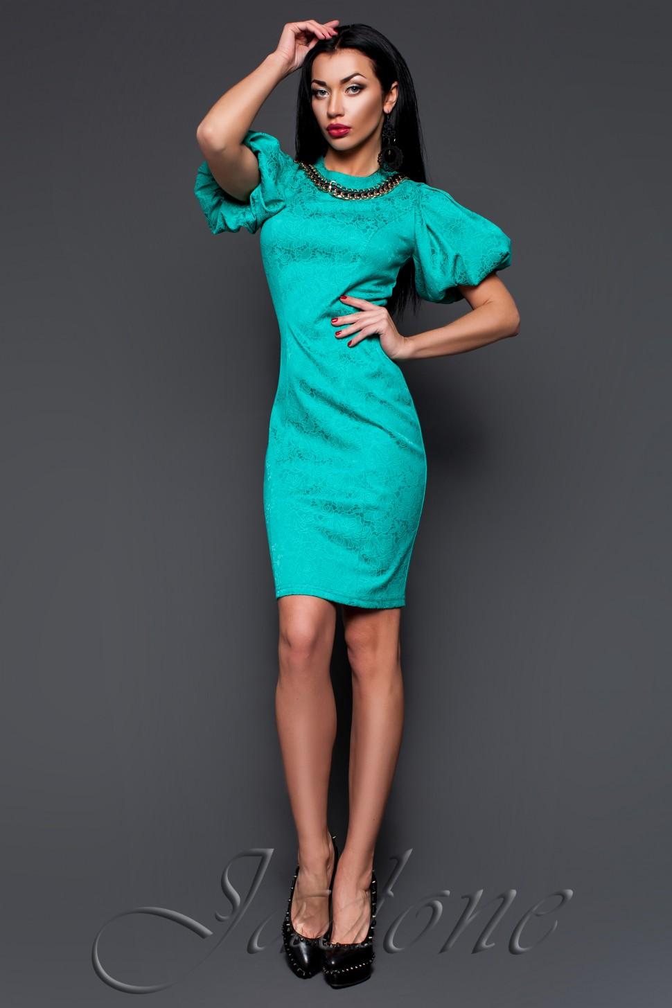 7afa56e6c7717ff Купить платье футляр с рукавом фонарь jdn10 мятное в интернет ...