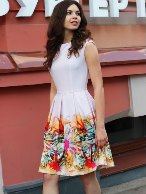Летнее платье без рукавов с юбкой солнце Bezaliya 0039-0147 цветочный принт d68c42752f605