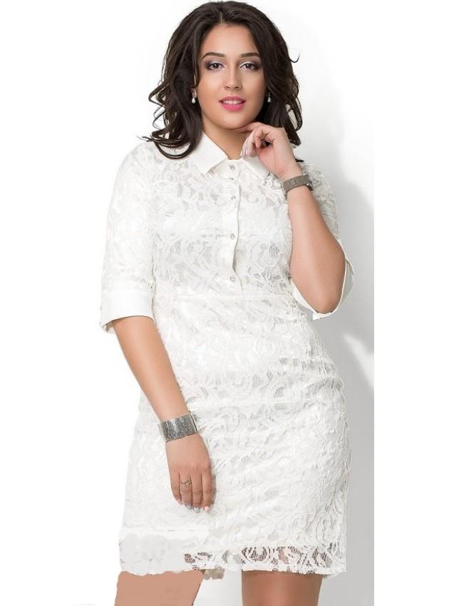 961e4f86af7 Кружевное платье футляр с воротником 10231 белое - Кружевное платье футляр  с воротником 10231 белое