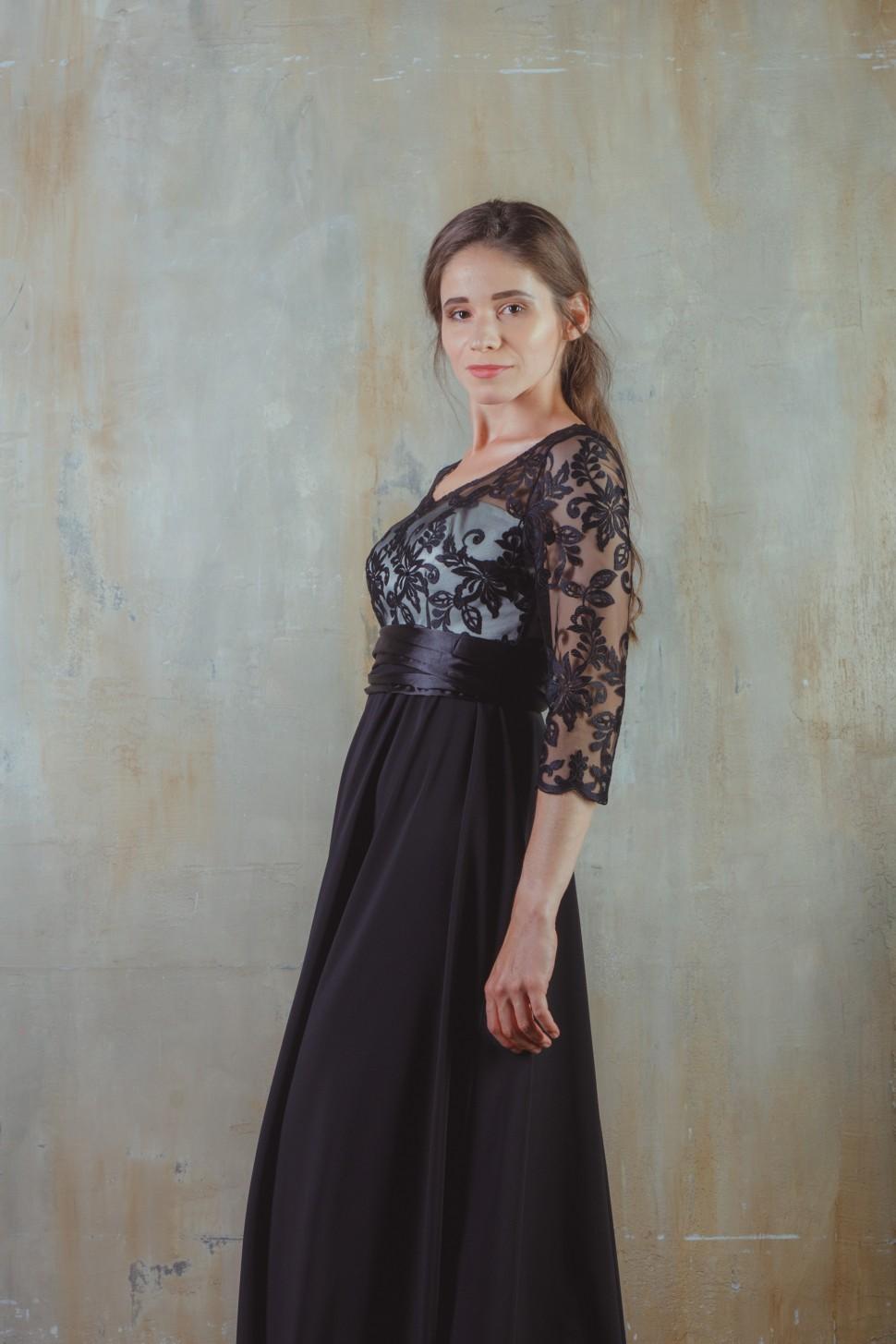 43fddd3f38d Купить вечернее платье с завышенной талией и кружевом, чёрное в ...