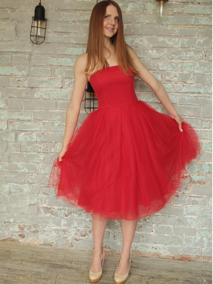 99e08afd12b Купить платье с пышной юбкой миди lucy sola m 178 красное в интернет ...