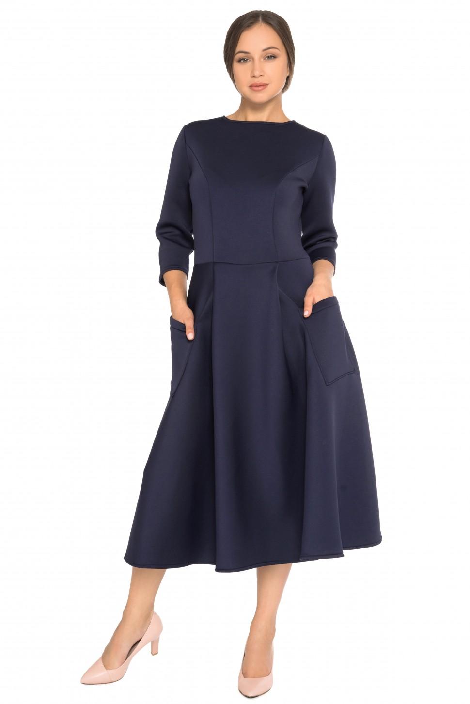109082e0a3db5ed Купить платье из неопрена с карманами и рукавом 3/4 синее в интернет ...