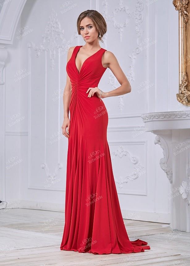e7930ff3f33 Вечернее платье в пол с открытой спиной MC091B красное - Вечернее платье в  пол с открытой