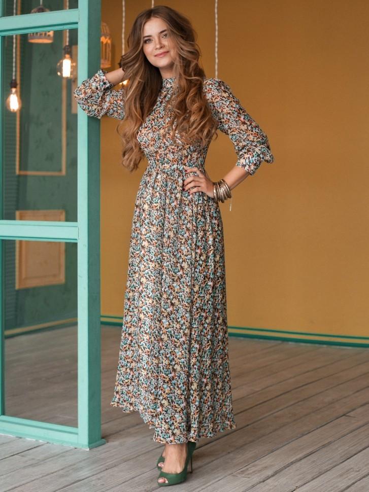35ec63b78a6 Купить платье из шифона и длинным рукавом зеленое в интернет ...