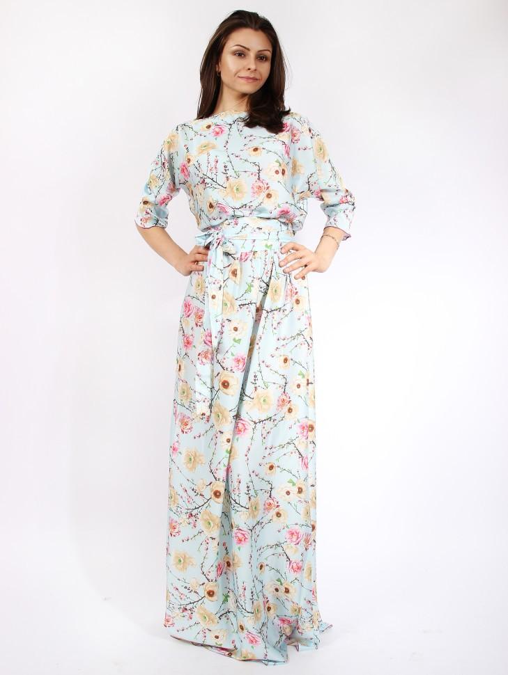 065ffe33a05 Купить платье в пол с поясом и длинным рукавом emansipe 318 голубое ...