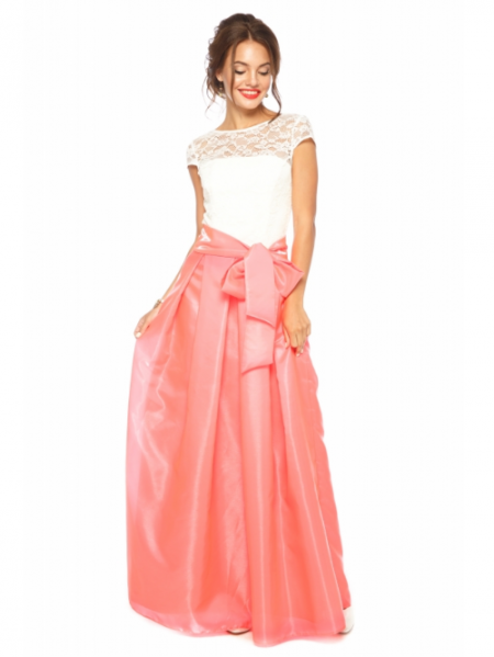 731472fbd9d0529 Длинное платье с бантом на талии Калвина кораловое