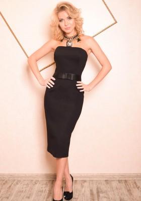 15ce7db4a33 Длинное платье футляр с поясом Глория черное