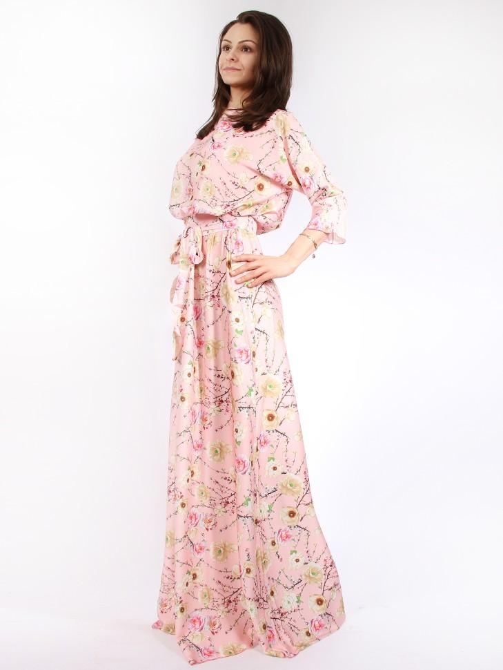 a00be8fc1de Купить платье в пол с поясом и длинным рукавом emansipe 318 розовое ...