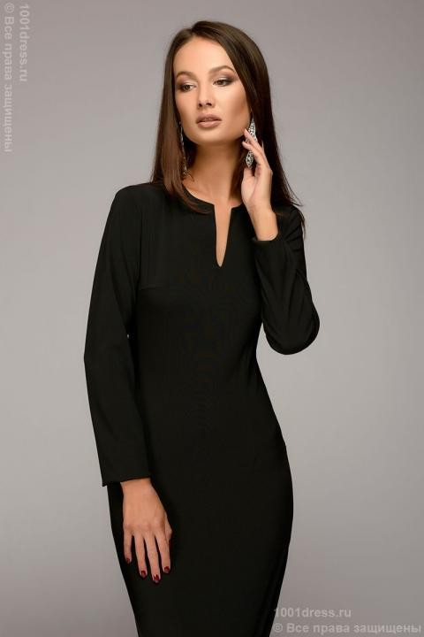 fc019a0aa6bb58e Купить платье-футляр черное с вырезом на груди и длинными рукавами в ...