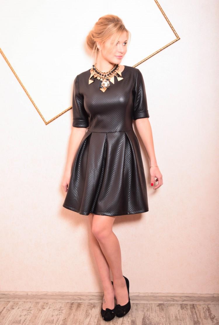 ba262c2f3bb Купить кожаное платье с воротником и юбкой солнце ника чёрное в ...