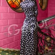 d660b1027e2 Купить синее платье атласное в белый горох 9608 в интернет магазине ...