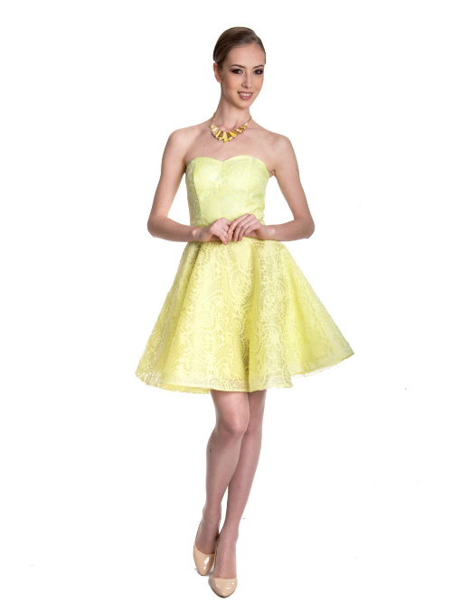 b642ef543ebbafa Купить коктейльное платье с юбкой солнце 32-20 жёлтое в интернет ...