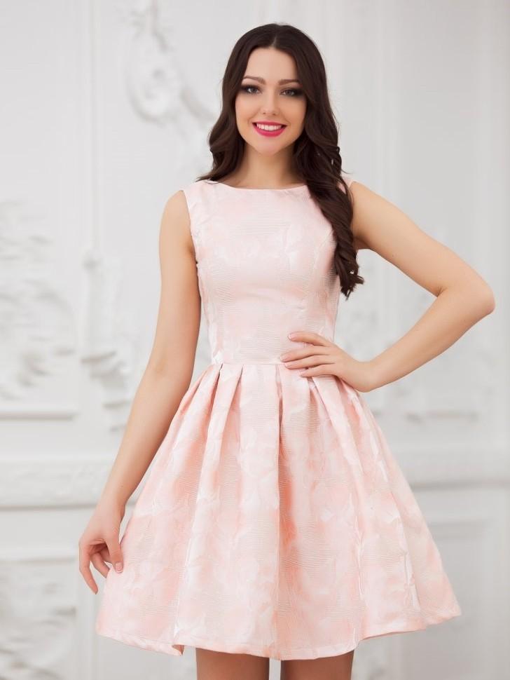 ee6ccb0164a Купить короткое платье с юбкой солнце без рукавов eva 5211 пудра в ...