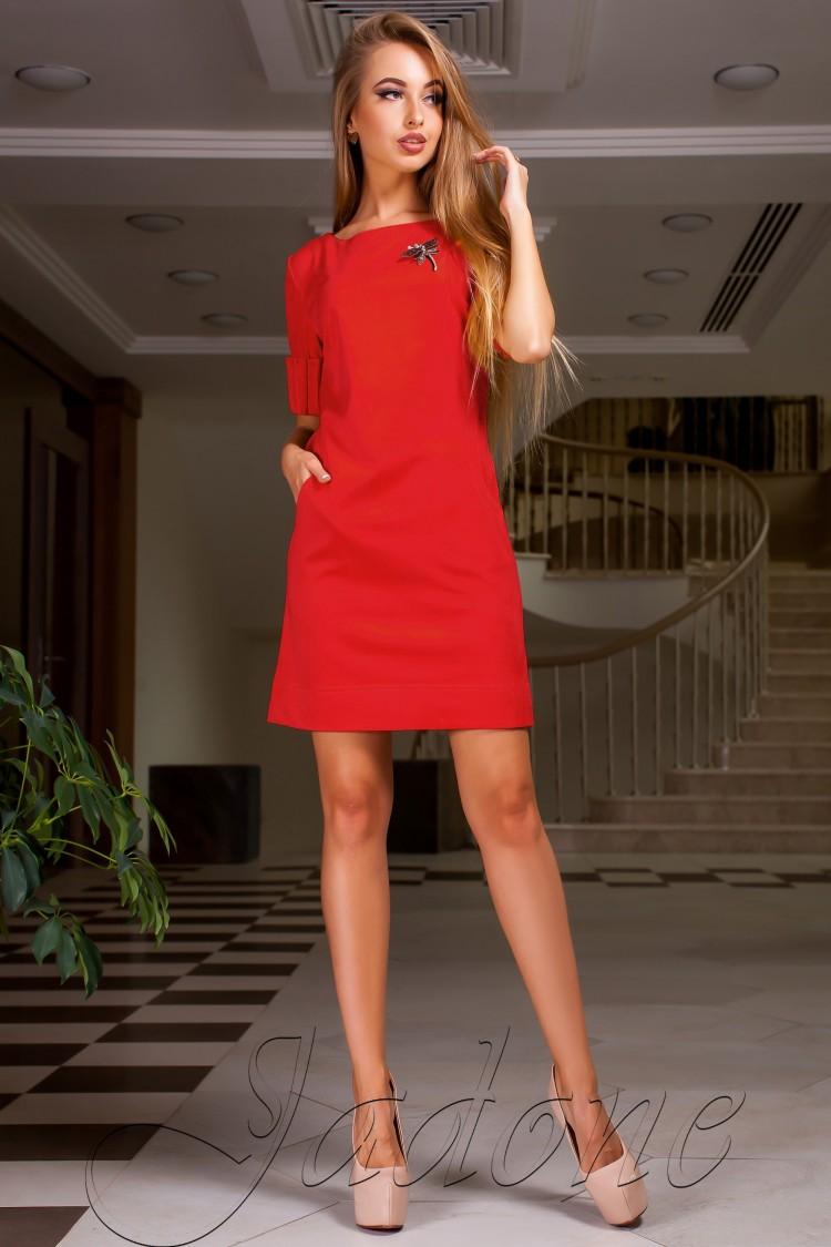 1d9121b1cf7 Купить платье трапеция из замши с карманами jdn15 красное в интернет ...