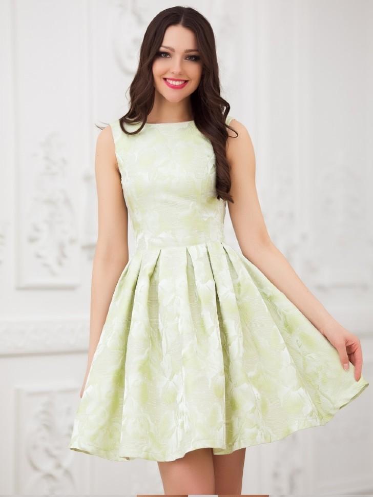 ab39dec21c8 Купить короткое платье с юбкой солнце без рукавов eva 5211 салатовое ...