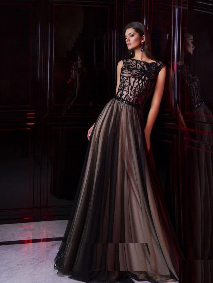f24660f30b2 Купить темное платье с кружевом с верху 16226 коричневое в интернет ...