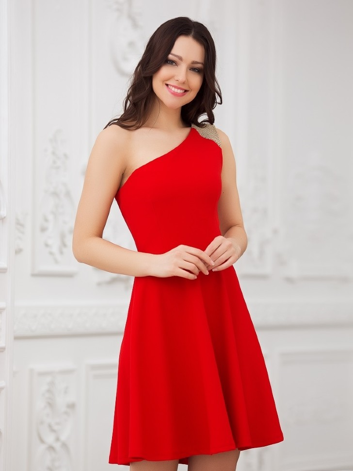 2a52b2138cb Платье на одно плечо с юбкой солнце Eva 5217 красное - Платье на одно плечо  с