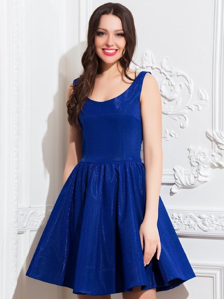 Купить платье с пышной юбкой солнце без рукавов eva 5213 синее в ... 1d93333ff429b