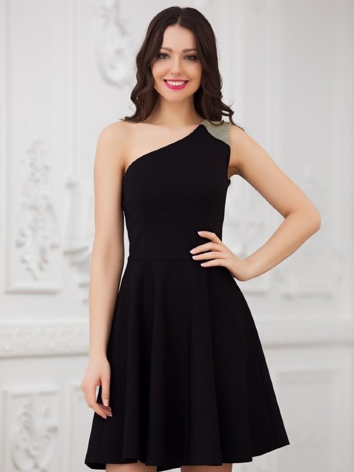 3ad327a6480 Купить платье на одно плечо с юбкой солнце eva 5217 чёрное в ...