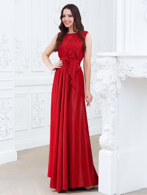 d58dc787b7582d4 Купить длинное платье с поясом юбкой в складку eva 5214 красное в ...