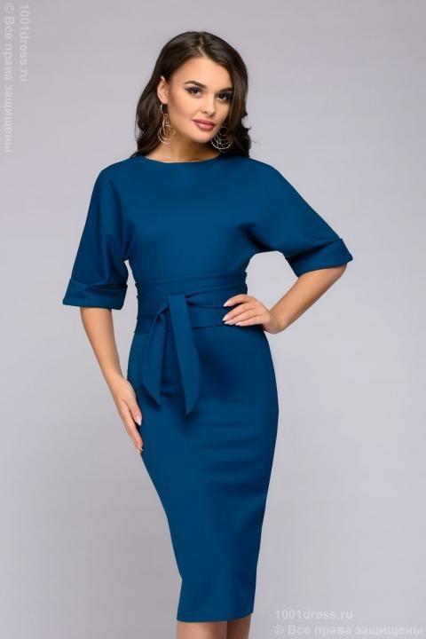 eef13a42094e179 Платье цвета морской волны длины миди с поясом и рукавом