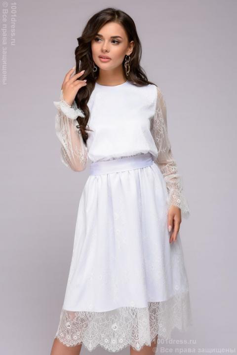 d259e6bb0dd Купить платье белое кружевное длины миди с длинными рукавами в ...