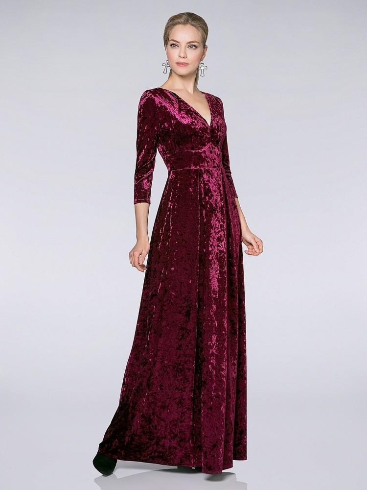49d6413205a2ab0 Купить платье в пол из бархата sq1 бордовое в интернет магазине ...
