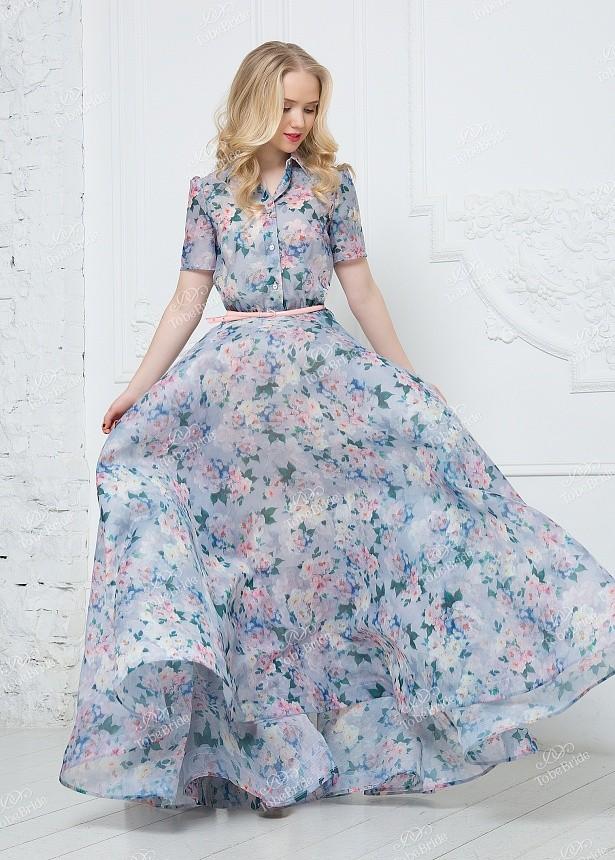 735f39d4172b Купить платье из шифона в пол с воротником nd143b в интернет ...