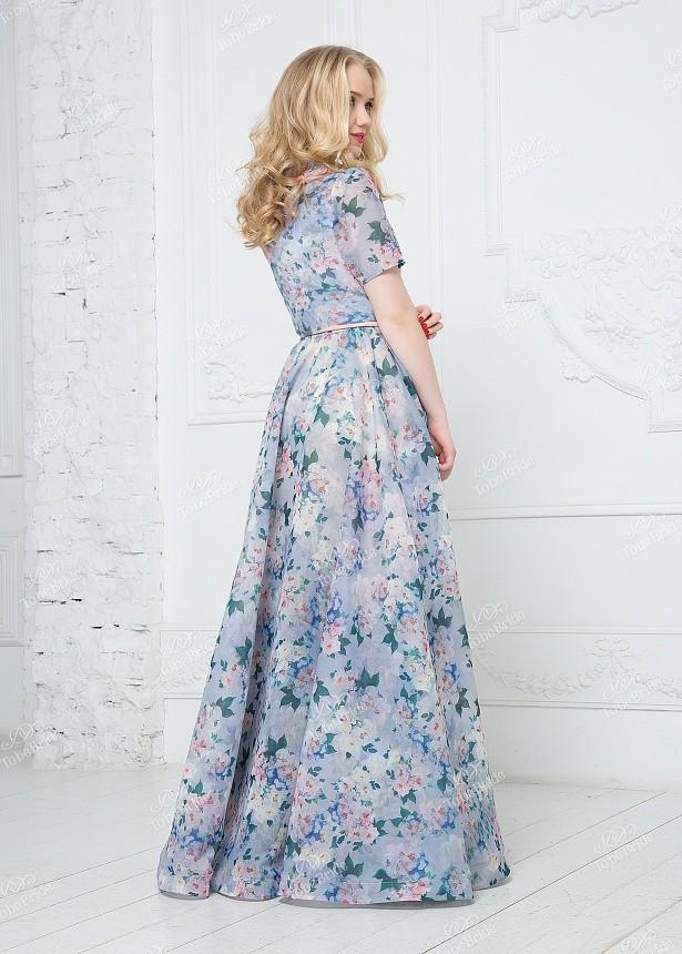1640f2e32b6b Платье из шифона в пол с воротником ND143B - Платье из шифона в пол с  воротником