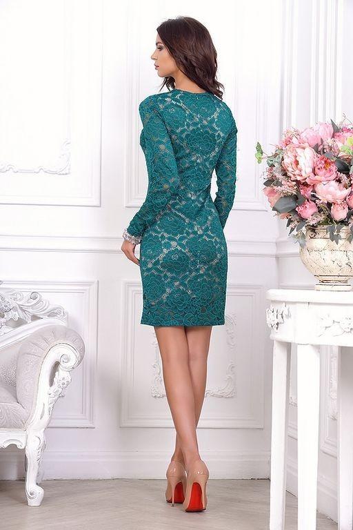 4b13f98cc80 Короткое кружевное платье футляр с длинным рукавом 21001 изумрудное - Короткое  кружевное платье футляр с длинным