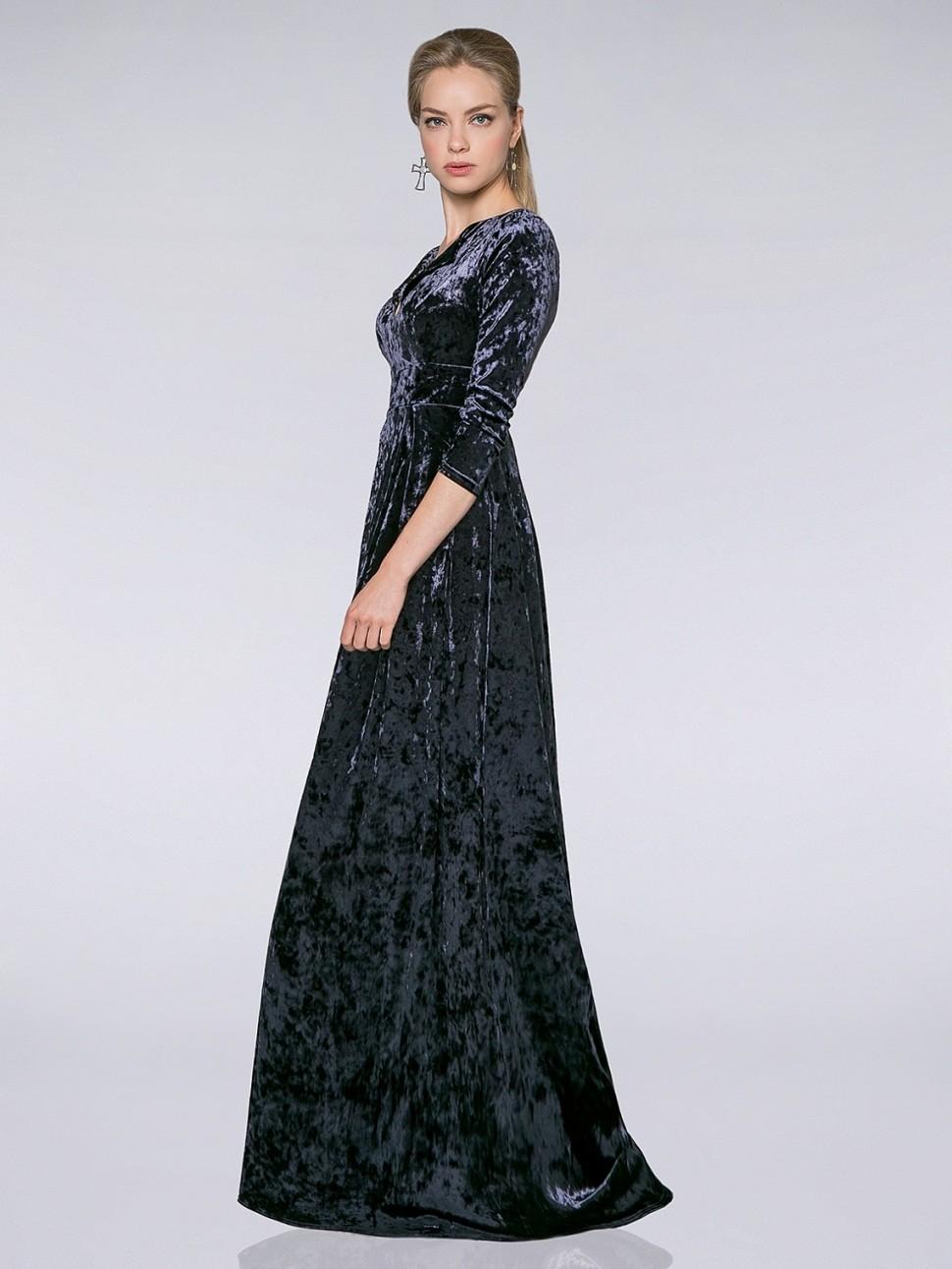 31e5aab2bae Купить платье в пол из бархата sq1 т-серое в интернет магазине ...