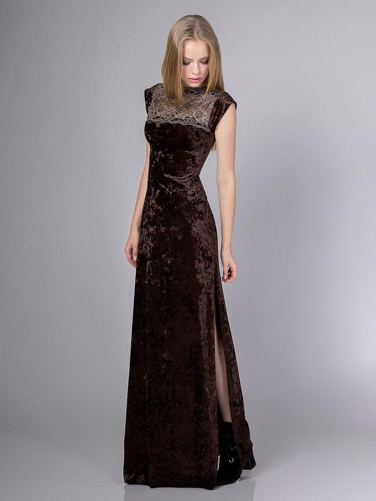 de044abac5c68c2 Купить бархатное платье в пол с разрезом на ноге sq4 шоколадное в ...