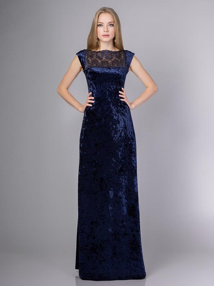 6675cee1ae512ae Купить бархатное платье в пол с разрезом на ноге sq4 т-синее в ...