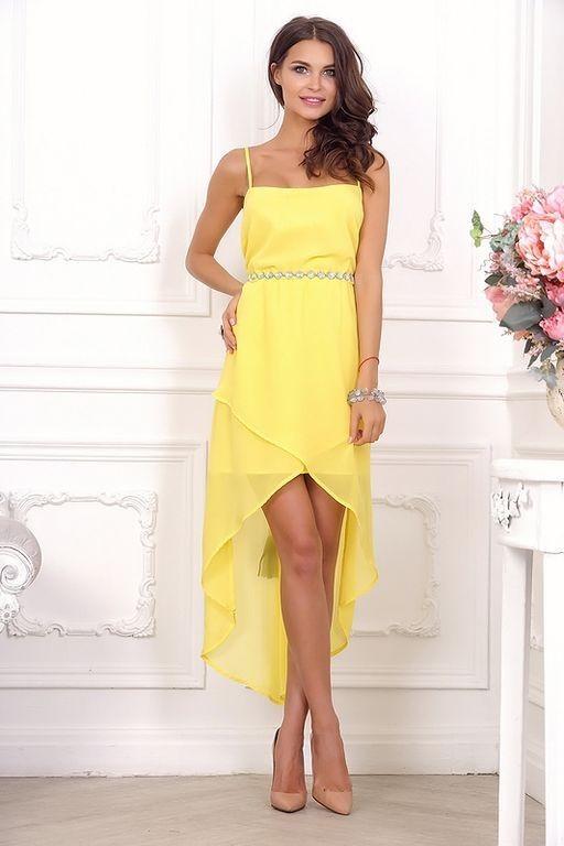 dcebb92e2bb Платье длинное со шлейфом и открытой спиной 21011 жёлтое - Платье длинное  со шлейфом и открытой