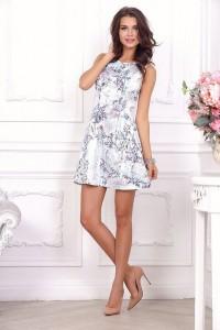 2c1f818cdc4f Летнее платье без рукавов с юбкой солнце 21014 цветочный принт на белом