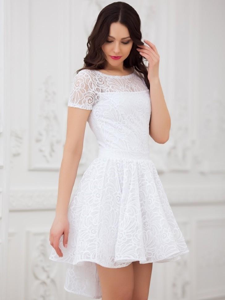 b59e4e7bbbe Купить кружевное платье с пышной юбкой солнце eva 5231 белое в ...
