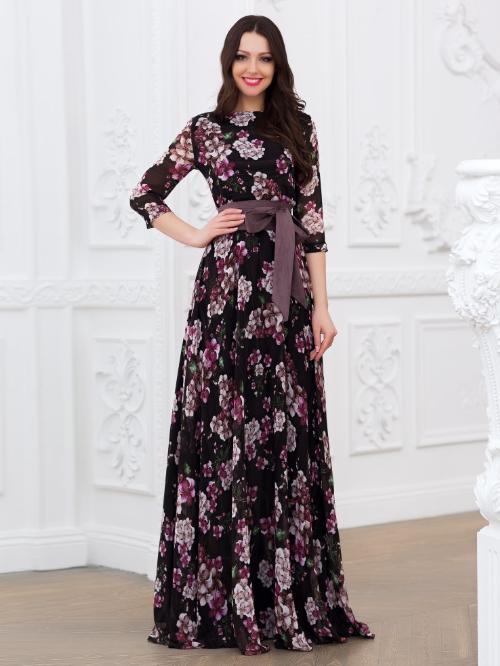 43619eaaf7e912e Купить шифоновое платье в пол с поясом eva 5220-1 черное в интернет ...